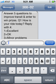 Texting with Rate Your Ride